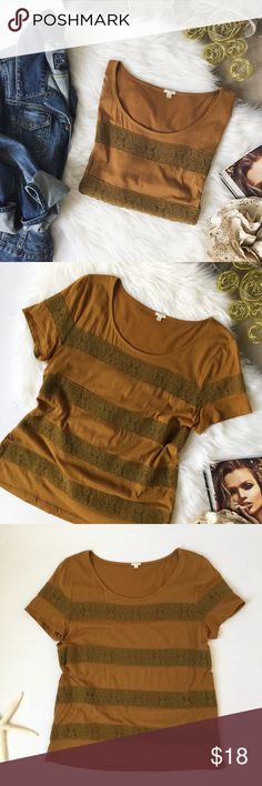 "SALE | J.Crew • Mustard {Lace & Knit} Tee This Tee from J.Crew is a deep mustard color • Lace compliments knit well and is a fabulous mix of textures // measurements taken laying flat and relaxed: bust 38"" / length 25"" // Showing minimal signs of wear J. Crew Tops Tees - Short Sleeve"