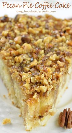 This decadent, melt-in-your-mouth Pecan Pie Coffee Cake would be perfect Thanksgiving or Christmas dessert.