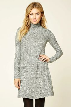 Forever 21 Contemporary - A marled ribbed knit swing dress featuring a mock neckline and long sleeves.