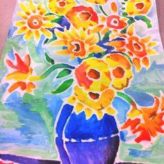 Interpretation of Van Gogh painting in water colors