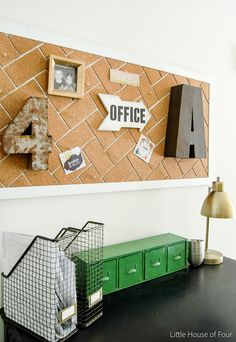 DIY Herringbone Cork Board {Monthly DIY Challenge} LITTLE HOUSE OF FOUR