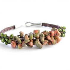 Stone chip beads give this easy bracelet an earthy look. If you can cut, braid, and glue, this project is for you!