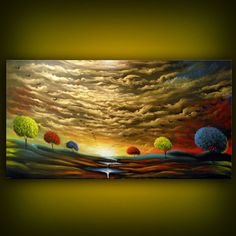 Landscape with bright colors in unusual place and interesting clouds
