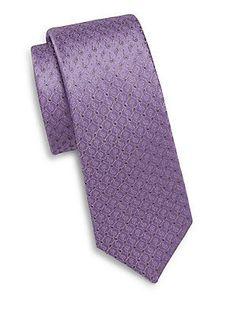 Saks Fifth Avenue Mini Paisley Silk Tie - Purple - Size No Size