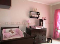 Scruffy bear nursery decor - walls painted neutral with pink/stone wall border, the room is complemented with dark wood (mahogany cot and compactum) furniture for a classic look. www.facebook.com/borderboutique.co.za