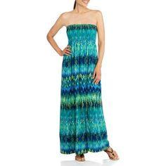 Faded Glory Women's Bree Strapless Maxi Dress, Size: XL, Multicolor