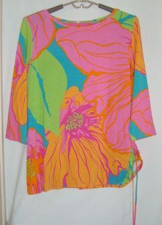 92b02a63852 RUBY RD Woman Colorful Bright Floral 3 4 Long Sleeve Stretch Knit Top Size  2X