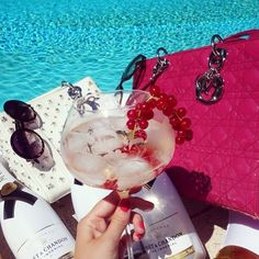 Poolparty à la DIOR! Credit: thebrunmacaron #Diorvalley #Dior #Poolparty #Pink #Moet #Champagne #LadyDior