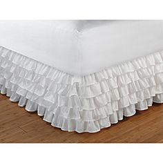 @Overstock.com - Cotton-blend Multi-ruffle White 15-inch Drop Bedskirt - Add a touch of class to your master bedroom or guest room with this white multi-ruffle bed skirt. Its design has five tiers featuring beautiful overlapping ruffles for a romantic and sophisticated finish, perfect for traditional decor.  http://www.overstock.com/Bedding-Bath/Cotton-blend-Multi-ruffle-White-15-inch-Drop-Bedskirt/6470879/product.html?CID=214117 $29.99