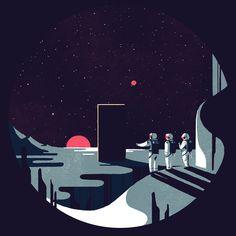 Tom Haugomat - A Space Odyssey Space Illustration, American Illustration, Tom Haugomat, Art Couple, 2001 A Space Odyssey, Posca Art, Epic Art, Graphic Design Inspiration, Vector Art
