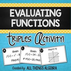Evaluating Functions Triples ActivityThis triples activity was created to increase students' understanding of function notation. Not only will students practice evaluating functions, but they will also practice solving for x given f(x). First Grade Math Worksheets, Algebra Activities, Teaching Math, Learning Activities, Teaching Ideas, Algebra Equations, Algebra 1, Algebra Lessons, Maths Solutions