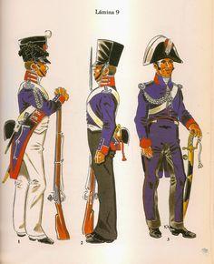 Spaish; Military Colleges & Academies, L to R Murcia Military College, Gala Dress 1810, Murcia Military College, Daily Dress, 1810 & Cavalry Academy of San Felipe de Jativa 1810-12