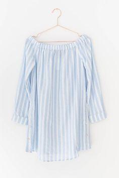 Vertical Striped Off-Shoulder Dress