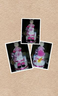 Girl Bunny Diaper Cake by FrediaCreations on Etsy, $35.00