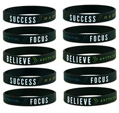 f82acdb1ed0475 10pack Success Focus Believe Motivational Silicone Rubber Wristbands Bulk  Pack Unisex Adult Size for Teens Men · Rubber BraceletsKitchen GiftsWorkout  ...