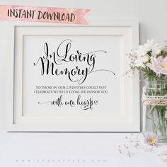 """Our line of Rustic Romance Wedding Signage lets you print beautiful signs for your wedding day. This """"In Memory"""" Wedding Sign comes in 5x7 and 8x10 sizes. See more here: http://www.soscripted.com/collections/wedding-signage/products/rustic-romance-wedding-signage-in-memory"""