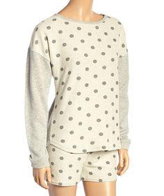 Look at this #zulilyfind! Off-White & Gray Polka Dot Drop-Shoulder Sleep Top - Women by Laura Ashley #zulilyfinds