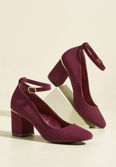Look haute in a hurry by buckling into these block heels! Rocking faux leather with a nubuck finish, gold metal accents at each heel, and awesome ankle straps, these posh pumps make Monday mornings as effortlessly marvelous as Friday nights out.