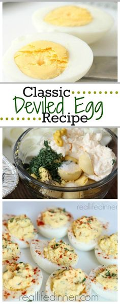 Taste just like mom's used to. This tried and true Classic Deviled Egg Recipe is perfect for using up all those dyed Easter eggs or for an easy appetizer.   Real Life Dinner ~ http://reallifedinner.com