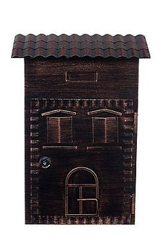 Zweite Wahl Antiker sehr großer Briefkasten LB 6021 Bronze Wandbriefkasten, B