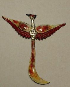 CORO Vintage Enamel Rhinestone Phoenix Bird Brooch Pin