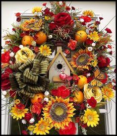 Bird House Door Wreath.