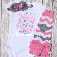 Baby Girl Clothes | I'm My Daddy's Girl And My Mommy's World Bodysuit | Opt Leg Warmers Headband | Pink And Silver Glitter | Baby Girl Set