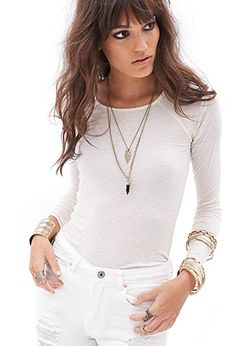 Heathered Long-Sleeve Top | FOREVER21 - 2000121872