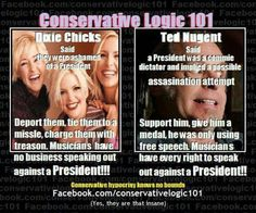 Conservative logic. Not to mention sexism in action....women aren't supposed to have opinions.