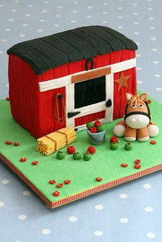 cakes with horses and barns | horse and barn cake... I love the bale of hay! | Barn/farm yard cakes