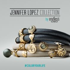 Full picture of the bracelets and some of the 42 charms in the brand new Jennifer Lopez Collection by Endless Jewelry. Designed and inspired by JLo herself