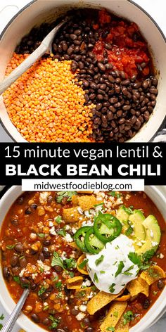 I'm here to let you in on a little secret…healthy food can also be hearty and satisfying! TRY THIS VEGAN BLACK BEAN CHILI! It's loaded with over of your daily fiber in each servi Tasty Vegetarian Recipes, Vegan Dinner Recipes, Veggie Recipes, Vegan Vegetarian, Whole Food Recipes, Black Bean Chili Recipe Vegetarian, Vegan Chilli Recipe, Vegan Black Bean Recipes, Vegetarian Mexican Food