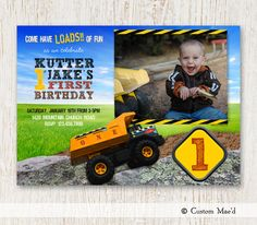 {NEW} 'Dump Truck' construction birthday invitation design by Mae of www.customaed.com!  Come have LOADS of fun!!