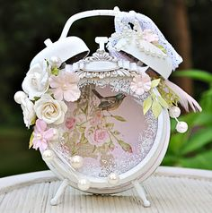This is an altered clock created with the Flying Unicorns Kit of the Month - 50 Shades of Summer. The paper is Kaisercraft True Romance.