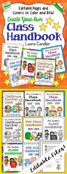 Create your own class handbook in a flash when you start with these editable pages! Then customize one of five cover designs to create a handbook that's uniquely yours! New from Laura Candler! $