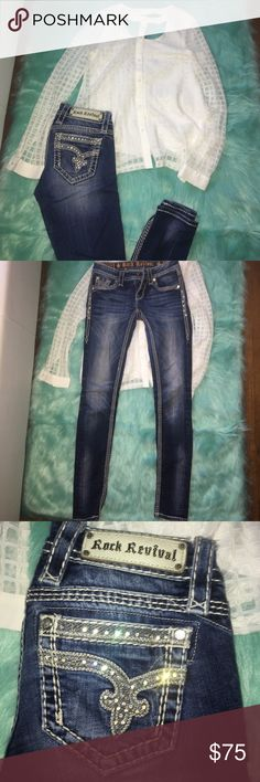 Rock revival skinny jeans and daytrip shirt! Size 24 rock revival Sherry skinny jeans, missing a few jewels but not noticeable when wearing but priced accordingly. Super cute on. The shirt is an xS and has never been worn, I'm pretty sure I still have the tags. $50 for the jeans and $30 for the shirt, $75 for the outfit. Thanks for looking 🎀💖 Buckle Jeans Skinny