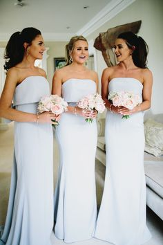 Wedding of the Week: Ruby Clay and Stephen Shaw | Strapless maxi powder blue bridesmaids' dresses | bridemagazine.co.uk