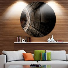 Designart 'Symmetrical Solar Fractal Art' Digital Art Circle Wall Art