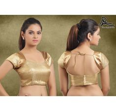 Golden Ready Made Stitched padded Blouse with patterned armhole - Special Price Limited Edition - Blouses - Apparels