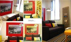 Un petit salon décoré par www.caserachezmoi.com Curtains, Home Decor, Living Room, Blinds, Decoration Home, Room Decor, Draping, Home Interior Design, Picture Window Treatments