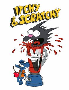 The itchy and scratchy show The Simpsons Bart And Lisa Simpson, Homer Simpson, Simpsons Drawings, Simpsons Art, Clown Show, Krusty The Clown, Simpsons Characters, Afraid Of The Dark, Scary Movies