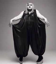 Plus Size Style Ideas:  Beth Ditto Singer/Clothing Designer,   Jumpsuit - Black Polyester Lame, belt-able
