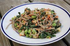 soba noodle salad w/kale, edamame, carrots, and mushrooms in peanut sauce