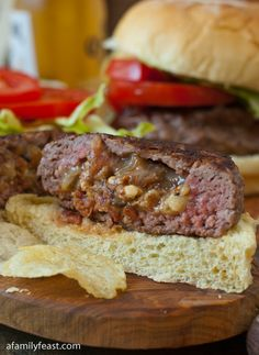 Bacon and Blue Cheese Stuffed Burgers - A Family Feast... I would use turkey bacpn