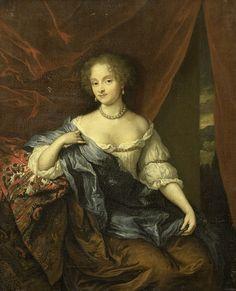 Portret van een vrouw, vermoedelijk een lid van de familie van Citters, Caspar Netscher, 1674