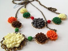 Autumn Flower Necklace Fall Wedding Jewelry by AmyCarrArt on Etsy, $30.00