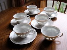 Arabia Finland 'rice' porcelain #arabia_finland #rice #cups_and_saucers #china #white