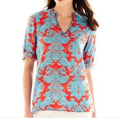 Fun red and blue blouse Button up sleeves, red and blue, beaded v neck Nicole by Nicole Miller Tops Blouses