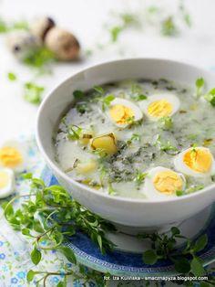 wiosenna-zalewajka-z-czosnkiem-niedzwiedzim Easter Dishes, Soup Recipes, Healthy Recipes, Polish Recipes, Polish Food, Bon Appetit, Cheeseburger Chowder, Garlic, Food And Drink
