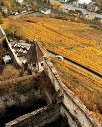 """Climbing up the spiral stairs and through a stone tower to our room, we notice a passageway. """"Where do you suppose it goes?"""" asks my wife, Sandra, as she signals me to follow her. We emerge atop a medieval parapet. On our left is the steeply banked Rhine Valley and the vineyards that line the winding Rhine River; to our right is a medieval inner courtyard with a multilevel patchwork of Romanesque arches, half-timbered chambers, and tumbledown stonework."""